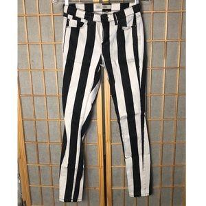 Top Shop Black & White Striped Skinny Jeans